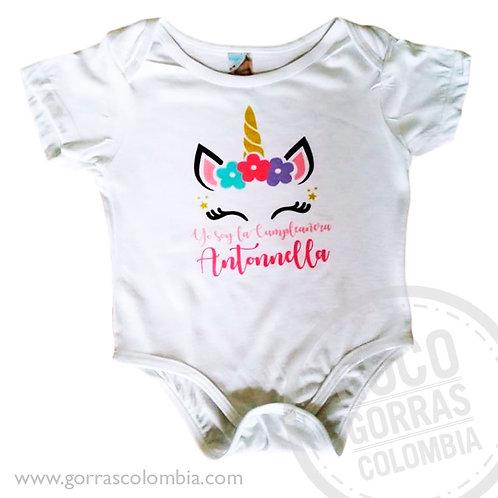 body blanco personalizado unicornio cumpleanos