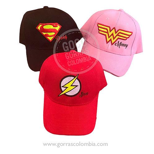 gorras varias unicolor para familia super heroes daddy mommy son