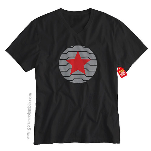 camiseta negra de superheroes bucky barnes