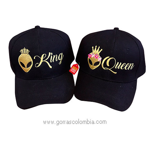 gorras negras unicolor para pareja king y queen alien