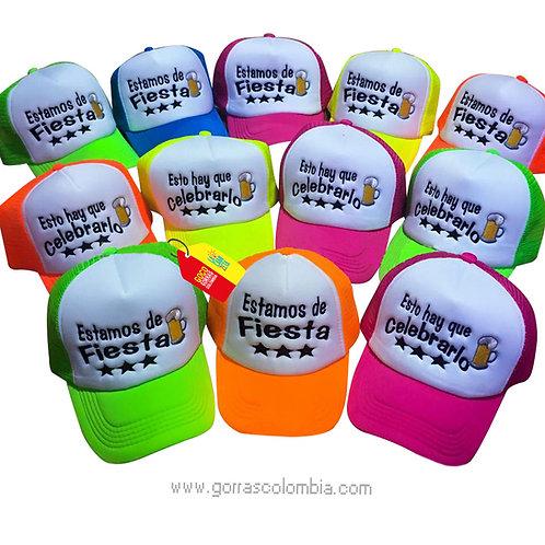 gorras varias frente blanco para fiesta estamos de fiesta