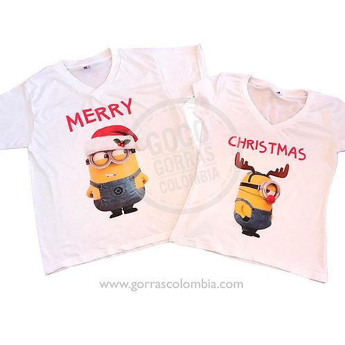 camisetas blancas para pareja minion merry christmas