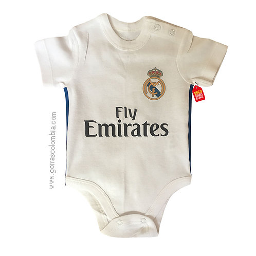 vista frontal body blanco para bebe de real madrid