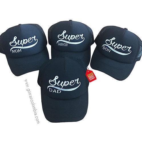 gorras negras unicolor para familia super