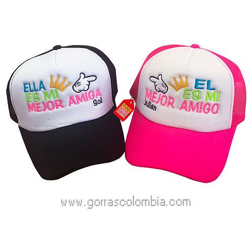 gorras negra y fucsia frente blanco para mejores amigos
