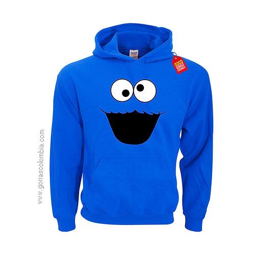 buso azul con capota para niño monstruo