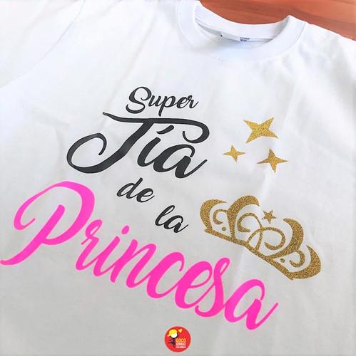 ae7990ac0 camiseta blanca personalizada super tia de la princesa vista detallada  camiseta super tia de la princesa