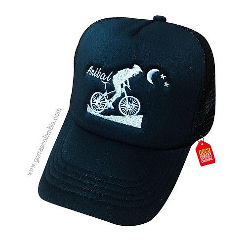 gorra negra unicolor personalizada biker