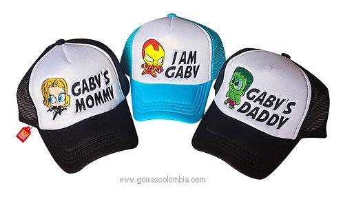 gorras negras y azul frente blanco para familia super heroes