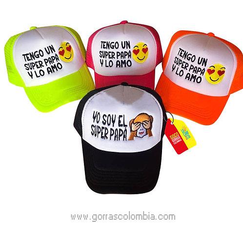 gorras varias frente blanco para familia super papá emojic