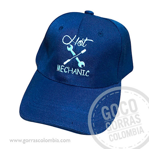 gorra azul unicolor personalizada hot mechanic