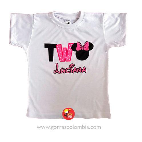 camiseta blanca para niña two minnie