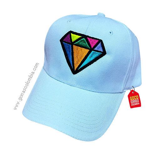 gorra blanca unicolor personalizada diamante