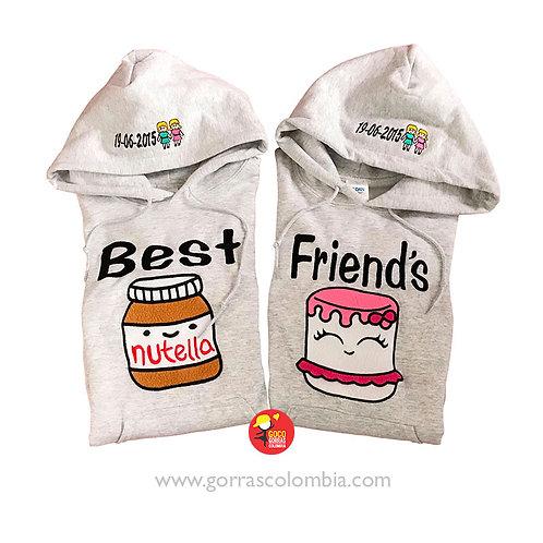 busos grises con capota para amigas best friends nutella