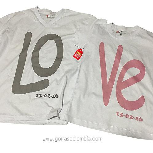 camisetas blancas para pareja de love con fecha