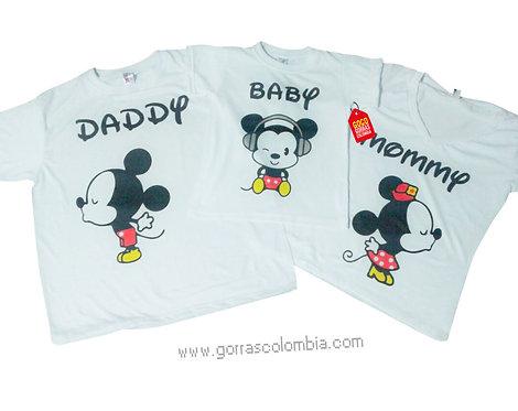 camisetas blancas para familia de mickey cuties