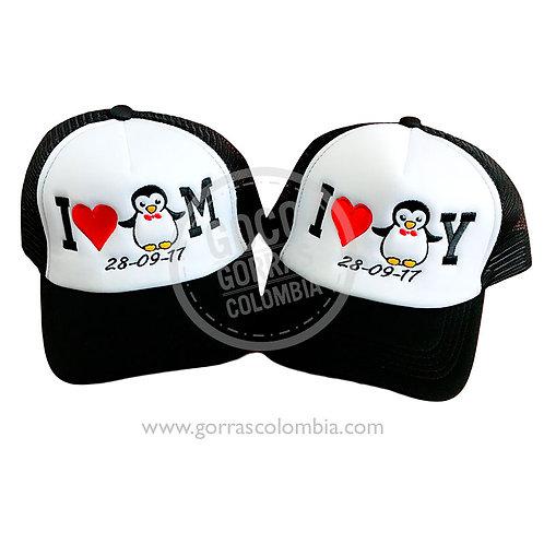 gorras negras frente blanco para pareja i love pinguino
