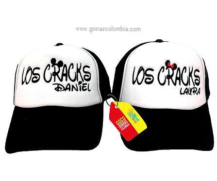 gorras negras frente blanco para pareja los cracks
