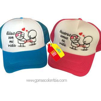 gorras azul y fucsia frente blanco para familia ellas son mi vida