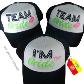 gorras negras frente blanco para fiesta team bride