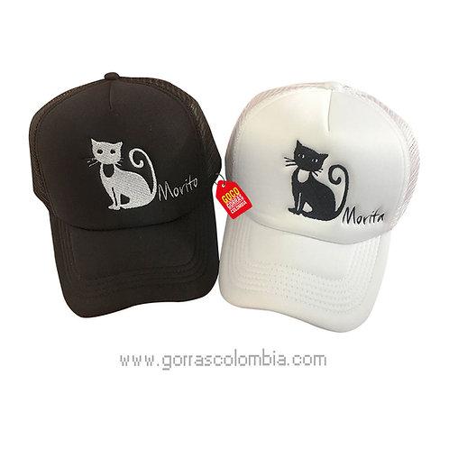 gorras negra y blanca unicolor para pareja gato