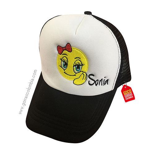 gorra negra frente blanco personalizada emoji moño