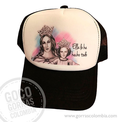 gorra negra frente blanco personalizada virgen maria