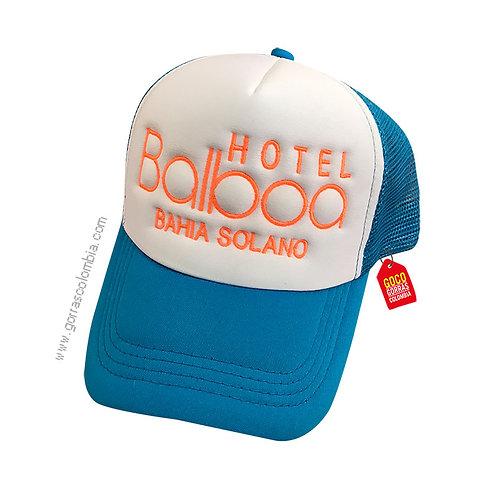 gorra azul frente blanco personalizada hotel balboa