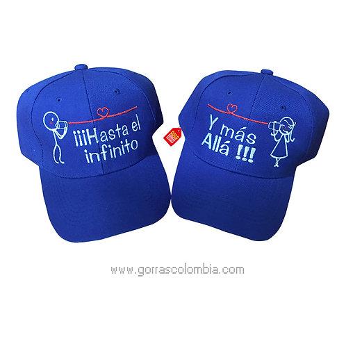 gorras azules unicolor para pareja hasta el infinito