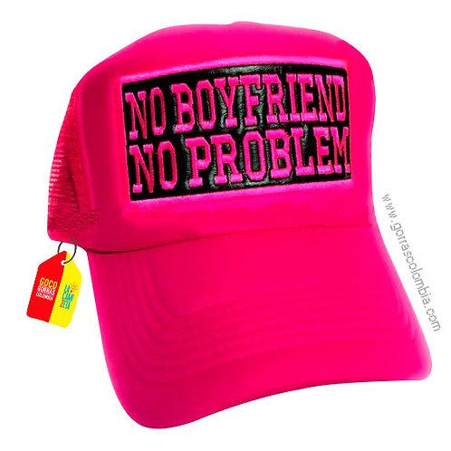 gorra fucsia unicolor personalizada no boyfriend no problem