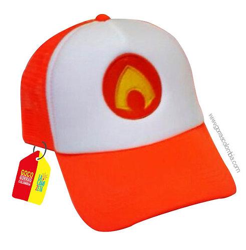 gorra naranja frente blanco de superheroes aquaman