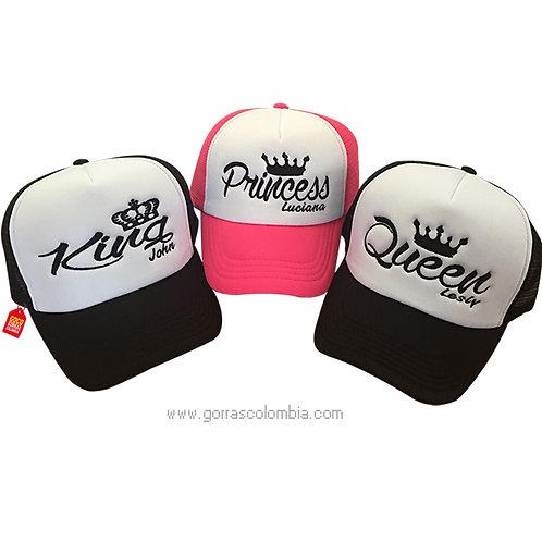 gorras negras y fucsia frente blanco para familia king, queen y princess