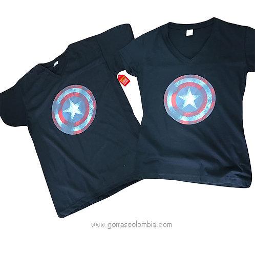 camisetas azules oscuras para pareja de capitan america
