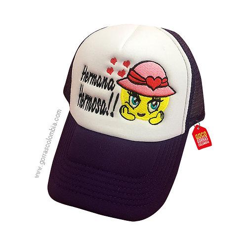 gorra negra frente blanco personalizada emoji con sombrero