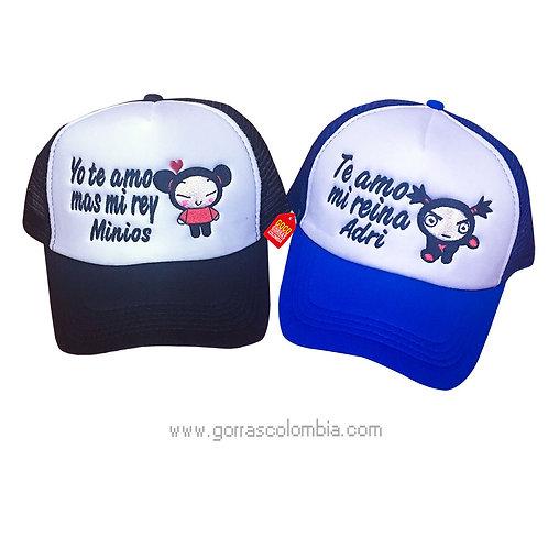 gorras negra y azul frente blanco para pareja te amo mi reina pucca