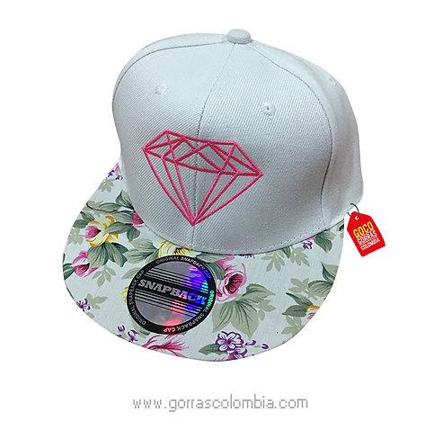 gorra flores frente blanco personalizada diamante
