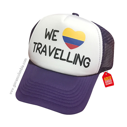 gorra morada frente blanco personalizada we travelling