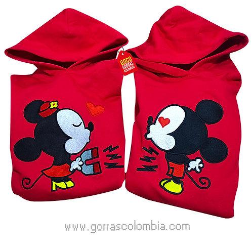 busos rojos con capota para pareja mickey y minnie