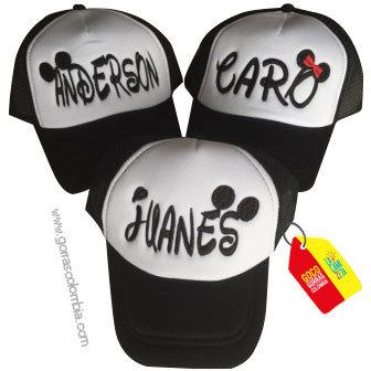 gorras negras frente blanco para niños nombres mickey