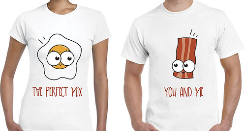 camisetas blancas para pareja huevo y tocineta you and me