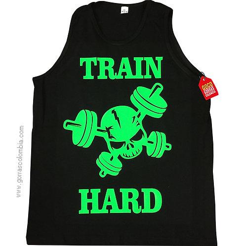 camiseta negra personalizada train hard
