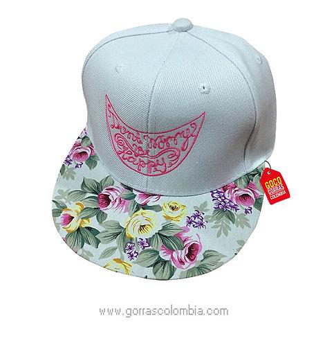 gorra flores frente blanco personalizada dont worry