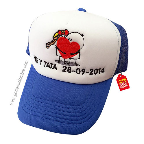 gorra azul frente blanco personalizada novios
