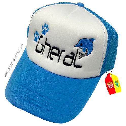 gorra azul frente blanco para niña delfin