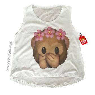 camiseta blanca personalizada emojic mono