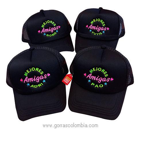 gorras negras unicolor para amigas mejores amigas
