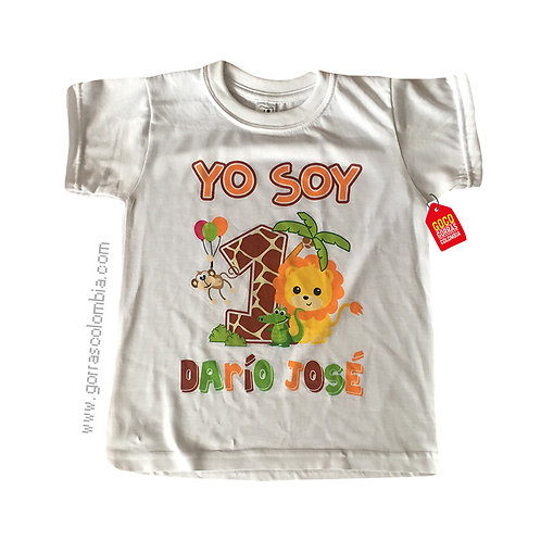 camiseta blanca para niño de safari