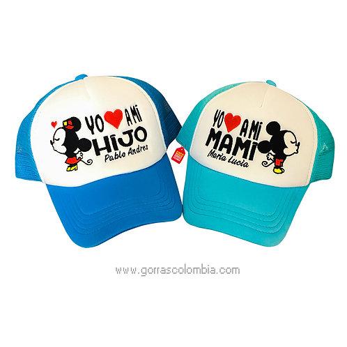 gorras azules frente blanco para familia mamá e hijo