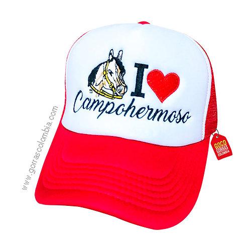 gorra roja frente blanco personalizada campohermoso