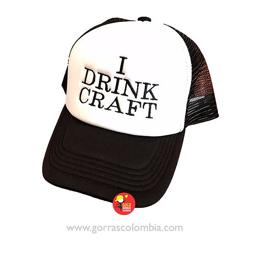 gorra negra frente blanco personalizada i drink craft